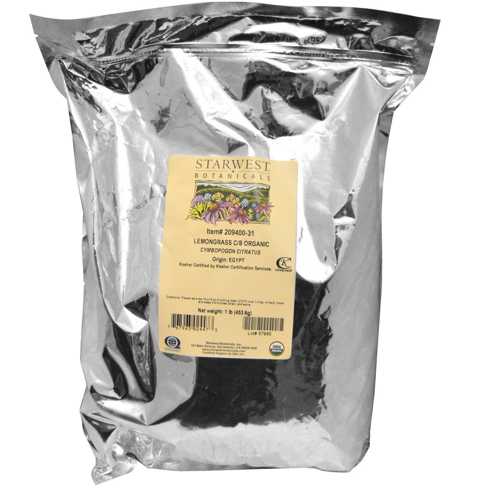 Starwest Botanicals, Органический лемонграсс, измельченный и просеянный, 1 фунт (453,6 г)