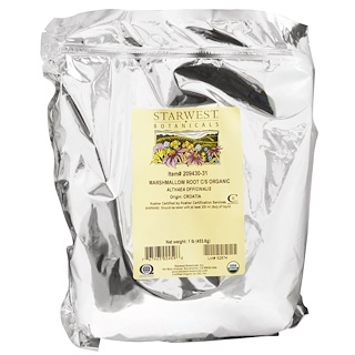 Starwest Botanicals, Organic Marshmallow Root C/S, 1 lb (453.6 g)
