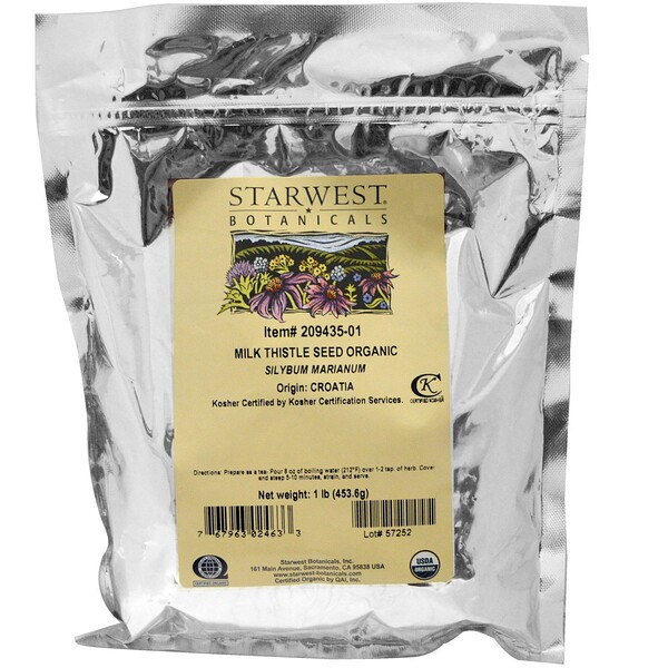 Starwest Botanicals, Milk Thistle Seed Whole, Organic, 1 lb (453.6 g)