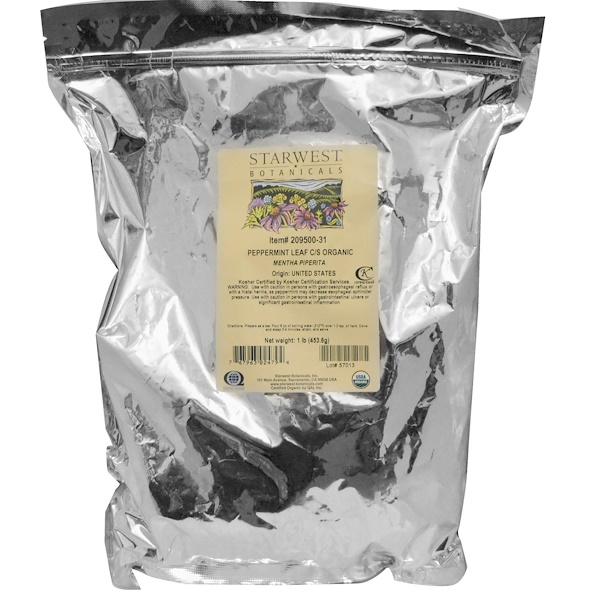 Starwest Botanicals, Organic Peppermint Leaf C/S, 1 lb (453.6 g) (Discontinued Item)