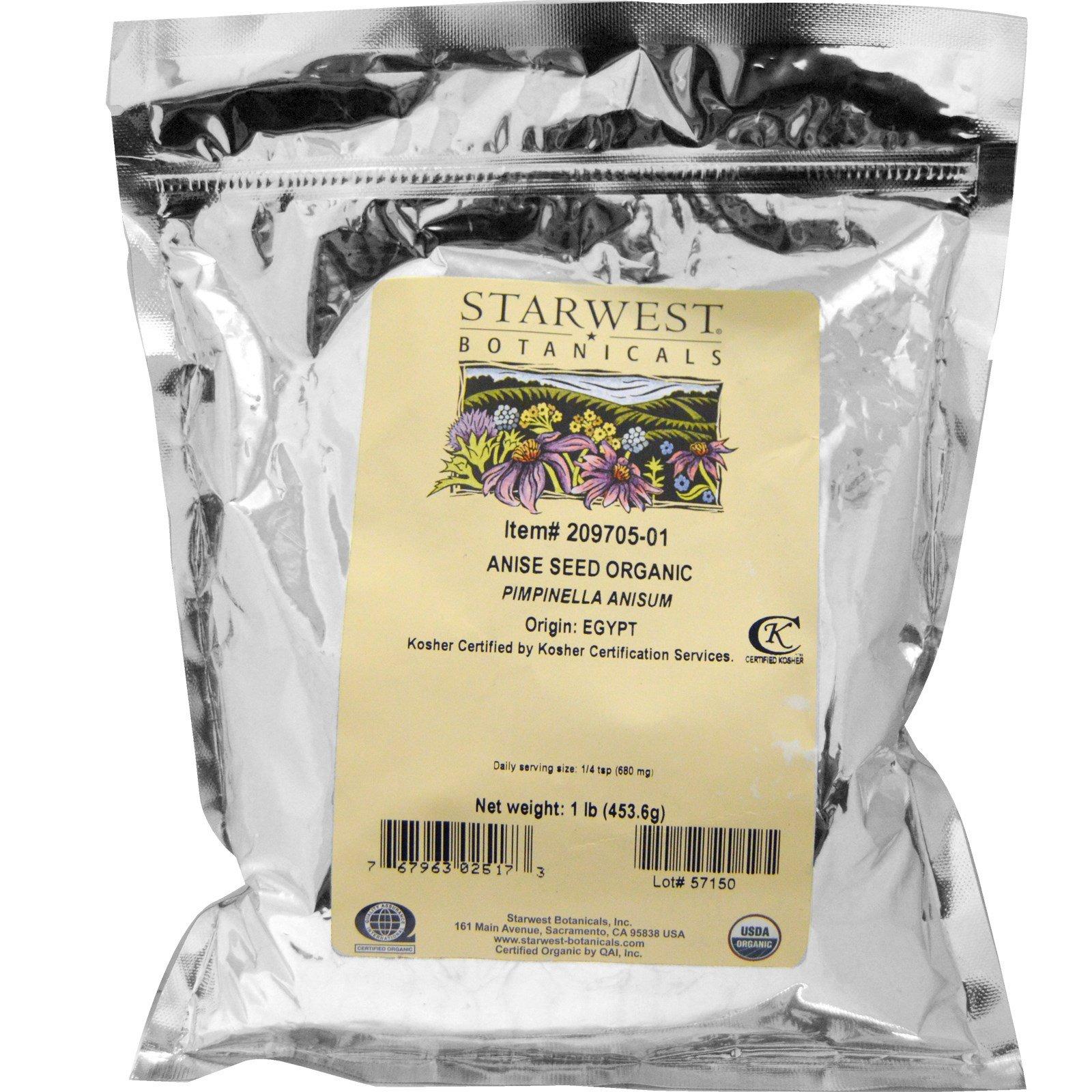 Starwest Botanicals, Anise Seed Whole, Organic, 1 lb