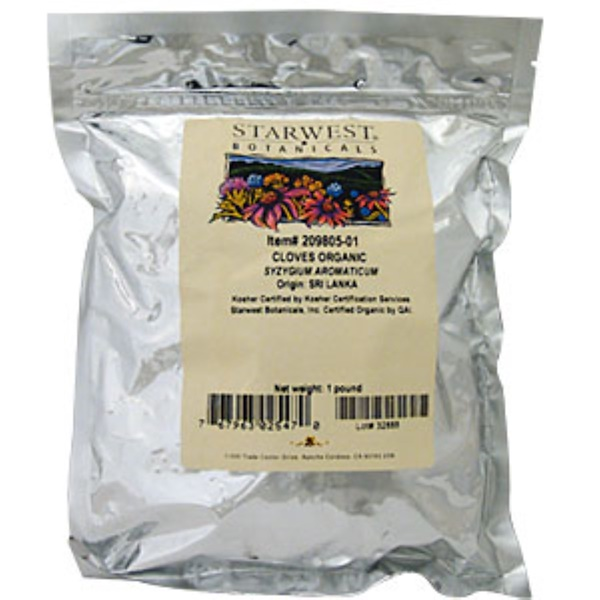 Starwest Botanicals, Cloves Whole, Organic, 1 lb (Discontinued Item)