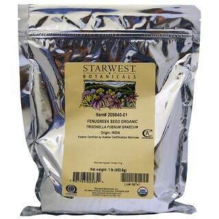 Starwest Botanicals, Semente de Feno-grego Orgânico, 453,6 g (1 lb)