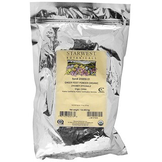 Starwest Botanicals, Ginger Root Powder, Organic, 1 lb (453.6 g)