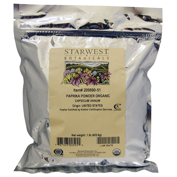 Starwest Botanicals, Organic Paprika Powder, 1 lb (453.6 g) (Discontinued Item)