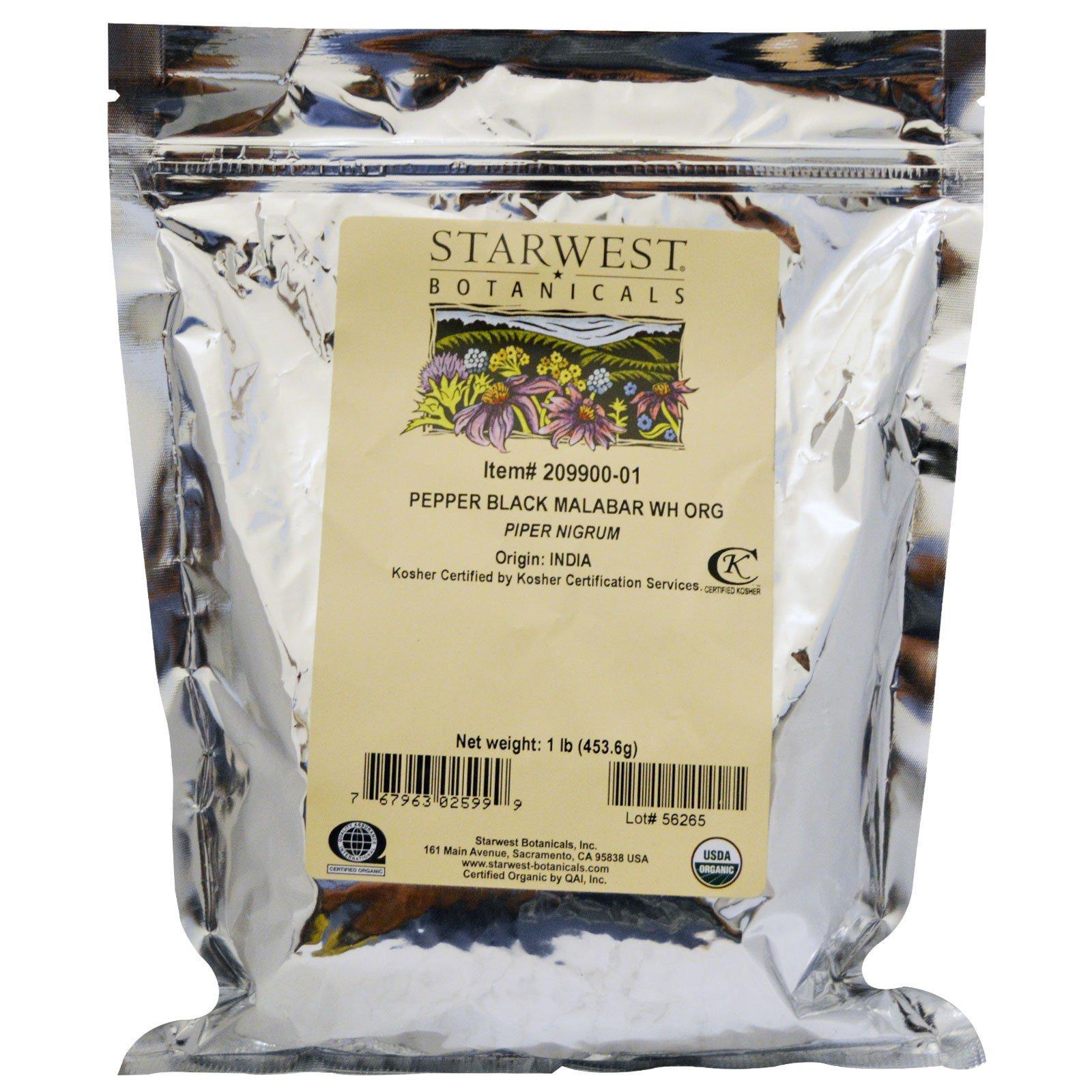 Starwest Botanicals, Цельный черный перец, органический, 1 фунт