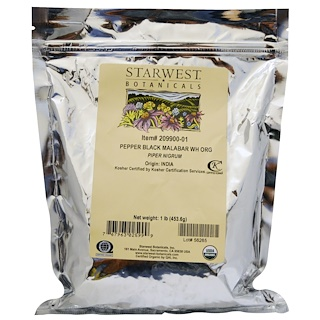 Starwest Botanicals, Organic Whole Pepper Black Malabar, 1 lb (453.6 g)