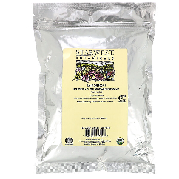 Pepper Black Malabar Whole, Organic, 1 lb (453.6 g)