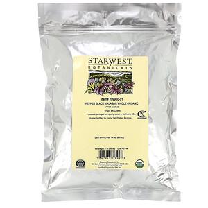Старвест Ботаникалс, Pepper Black Malabar Whole, Organic, 1 lb (453.6 g) отзывы покупателей