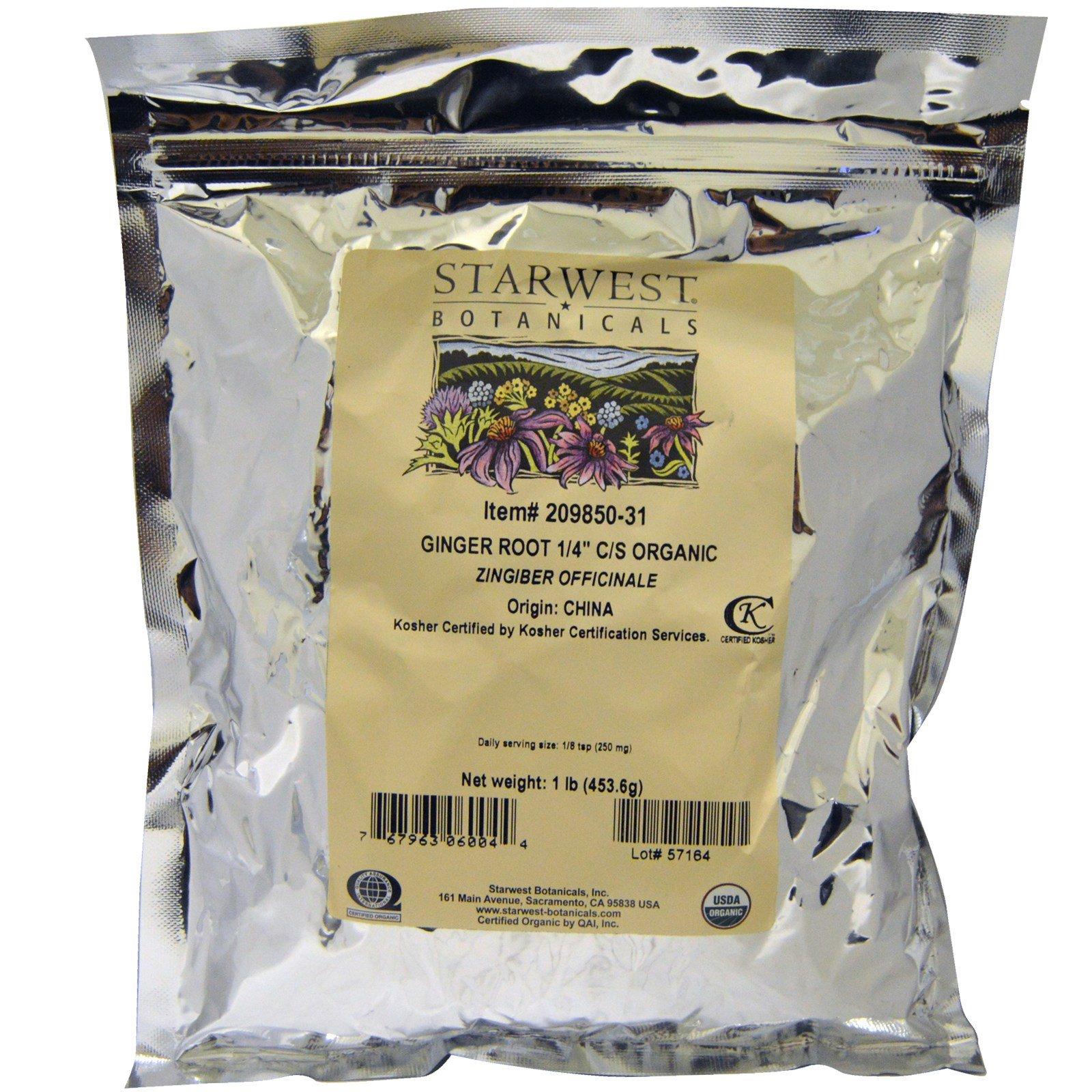 """Starwest Botanicals, Корень имбиря, 1/4"""", измельченный и просеянный, органический, 1 фунт (453,6 г)"""