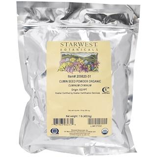 Starwest Botanicals, Organic Cumin Seed Powder, 1 lb (453.6 g)