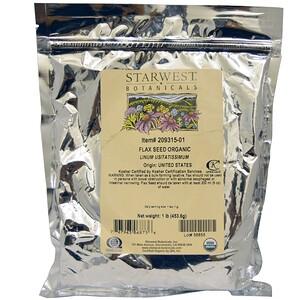 Starwest Botanicals, Цельные органические семена льна, 1 lb