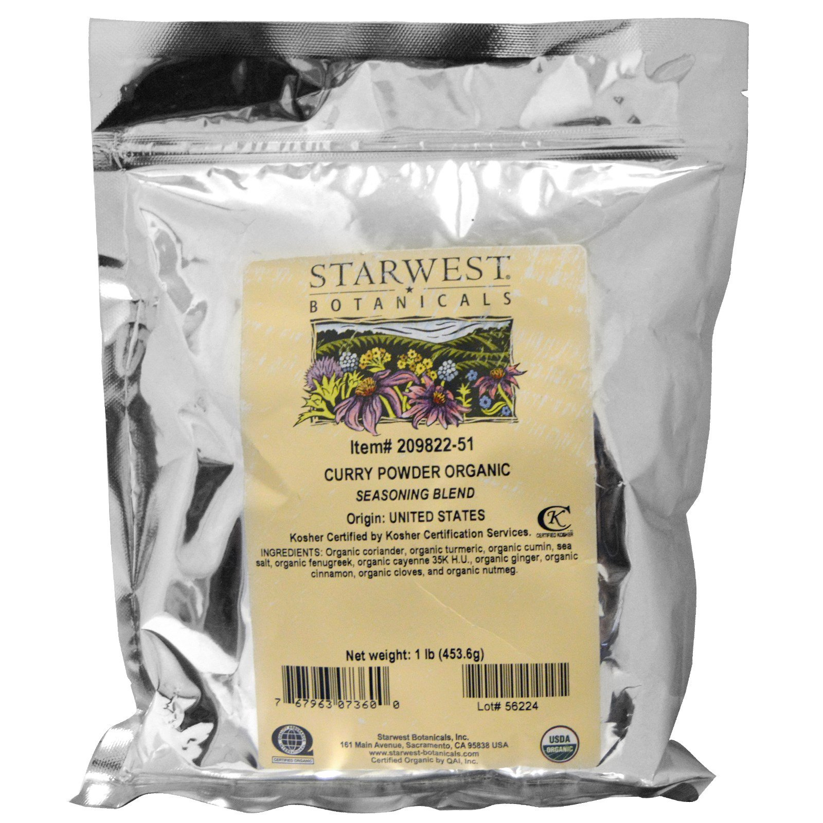 Starwest Botanicals, Органический порошок карри, 1 фунт (453,6 г)
