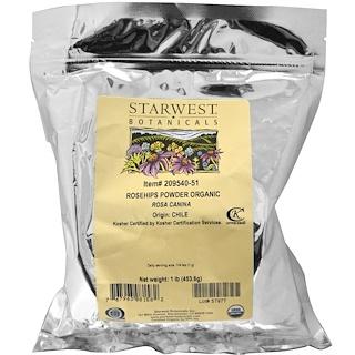 Starwest Botanicals, Rosehips Powder, Organic, 1 lb (453.6 g)