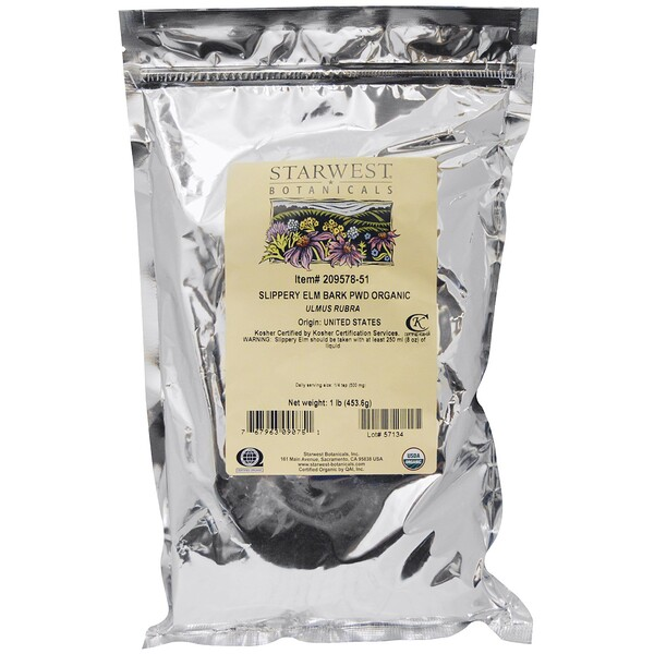 Starwest Botanicals, Organic Slippery Elm Bark Powder, 1 lb (453.6 g)
