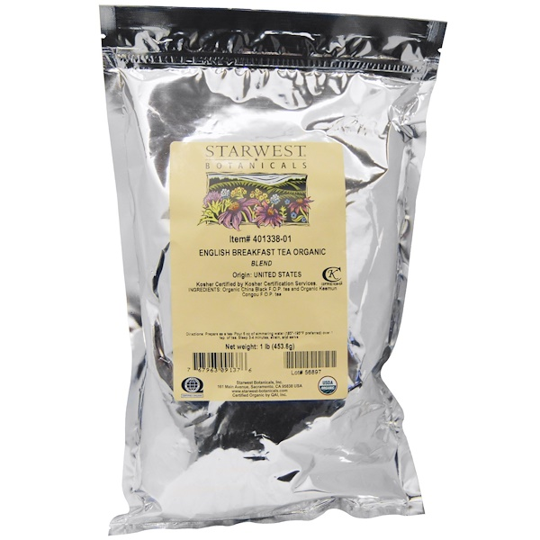 Starwest Botanicals, Organic English Breakfast Tea Blend, 1 lb (453.6 g) (Discontinued Item)