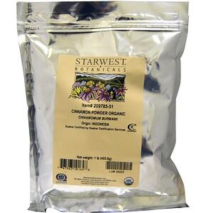 Старвест Ботаникалс, Organic Cinnamon Powder, 1 lb (453.6 g) отзывы
