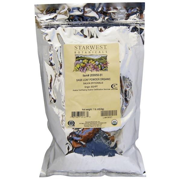Starwest Botanicals, Organic Sage Leaf Powder, 1 lb (453.6 g) (Discontinued Item)