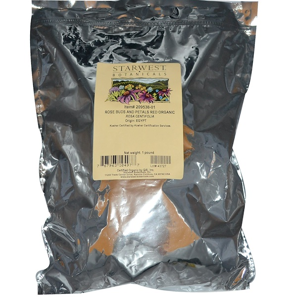 Starwest Botanicals, Rose Buds and Petals, Red Organic, 1 lb (Discontinued Item)