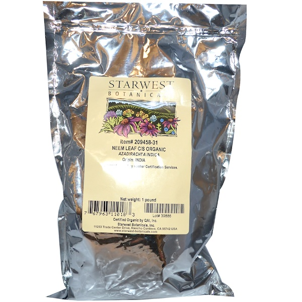 Starwest Botanicals, Organic Neem Leaf C/S, 1 lb (Discontinued Item)