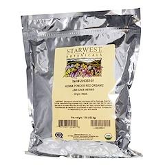 Starwest Botanicals, 유기농 헤나 가루, 빨간색, 1 lb (453.6 g)