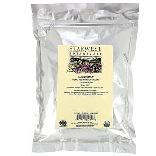 Starwest Botanicals, Polvo de Henna orgánica, rojo, 453,6 g (1 lb)