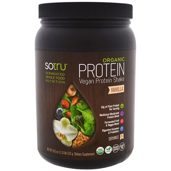 SoTru, 有機純素蛋白奶昔,香草味,18、5盎司(525克)