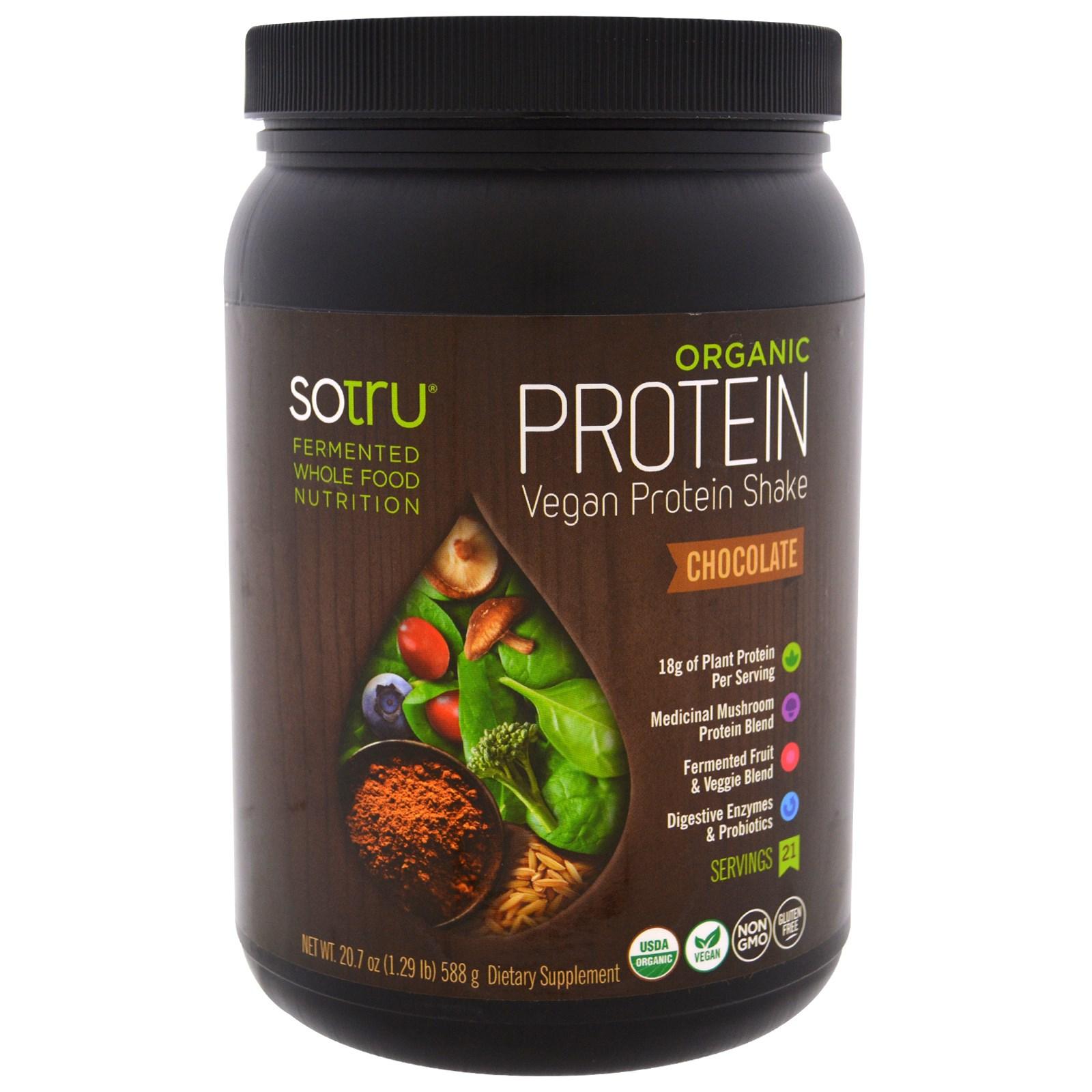 SoTru, Organic Vegan Protein Shake, Chocolate, 20.7 oz (588 g ...