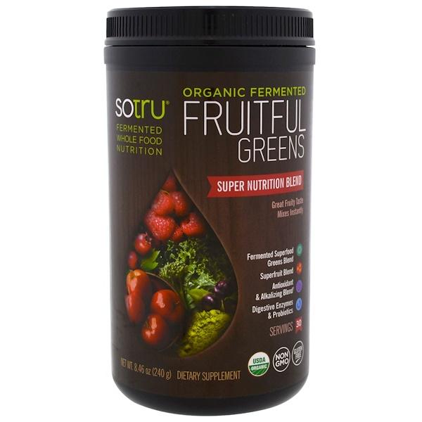 SoTru, Organic Fermented, Fruitful Greens, 8.46 oz (240 g) (Discontinued Item)