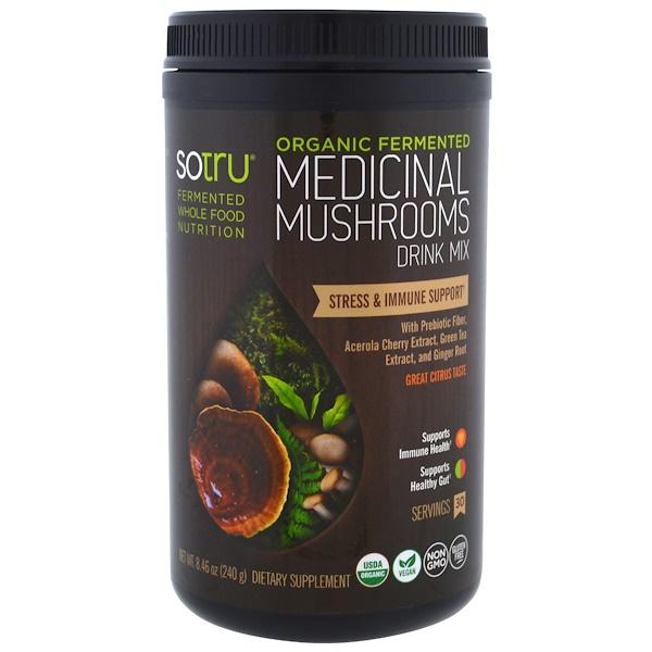 SoTru, Органический ферментированный продукт, медицинская смесь для питья с грибами, избавление от стресса и поддержка иммунитета, 8,46 унций (240 г) (Discontinued Item)