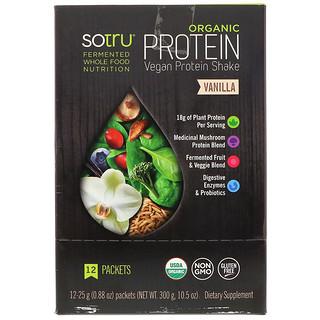 SoTru, Organic, Vegan Protein Shake, Vanilla, 12 Packets, 0.88 oz (25 g) Each