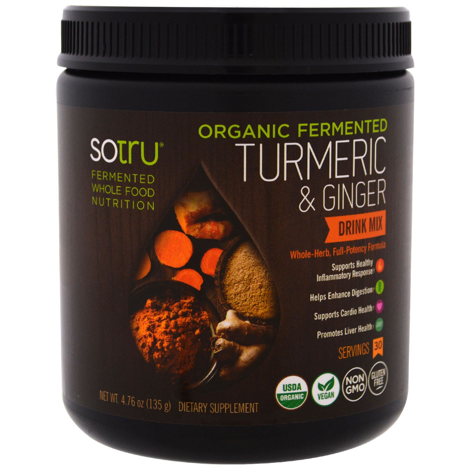 SoTru, Органический ферментированный продукт, смесь для питья с куркумой и имбирем, 4,76 унции (135 г)
