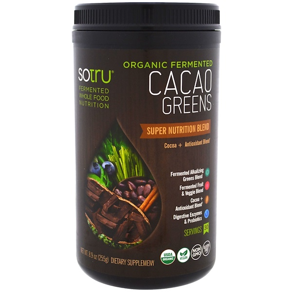 SoTru, 有機發酵,可可綠色食品,超級營養混合配方,8、9盎司(255克)
