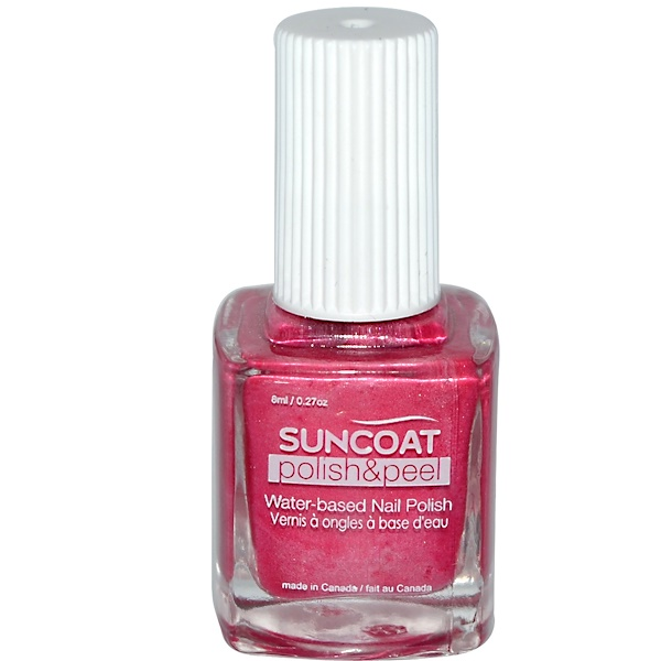 Suncoat, Polish & Peel, Water-Based Nail Polish, Pink Dahila, 0.27 oz (8 ml) (Discontinued Item)