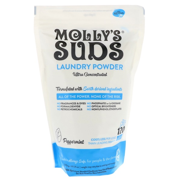 Molly's Suds, Laundry Powder, Ultra Concentrated, Peppermint, 120 Loads, 80.25 oz (2.275 kg)