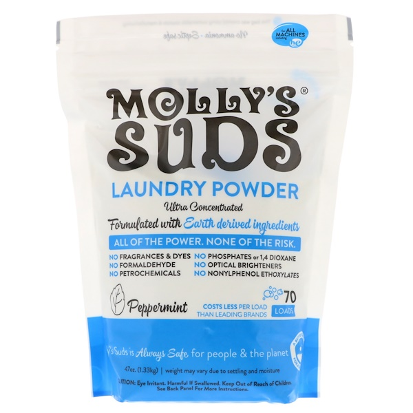 Molly's Suds, Laundry Powder, Ultra Concentrated, Peppermint, 70 Loads,  47 oz (1.33 kg)