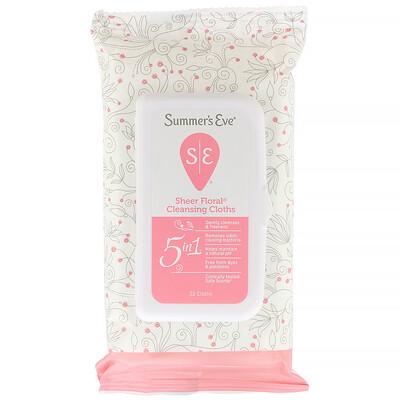 Купить Summer's Eve Sheer Floral, салфетки для интимной гигиены, 32шт.