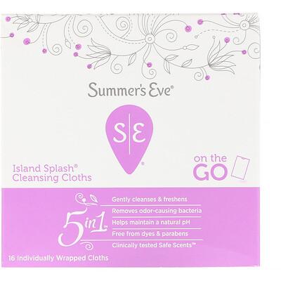 Купить Summer's Eve Очищающие салфетки 5 in 1, Island Splash, 16салфеток в индивидуальной упаковке