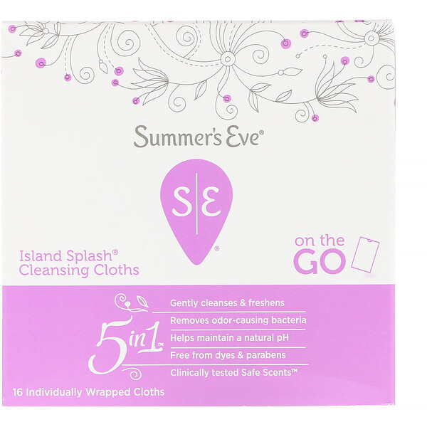 Summer's Eve, 5 in 1 Cleansing Cloths, Island Splash, 16 Individually Wrapped Cloths