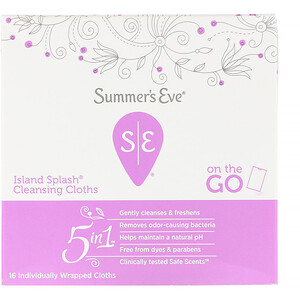 Summer's Eve, 5 in 1 Cleansing Cloths, Island Splash, 16 Individually Wrapped Cloths отзывы покупателей