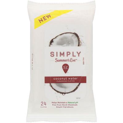 Купить Summer's Eve Очищающие салфетки серии Simply, Coconut Water, 24салфетки
