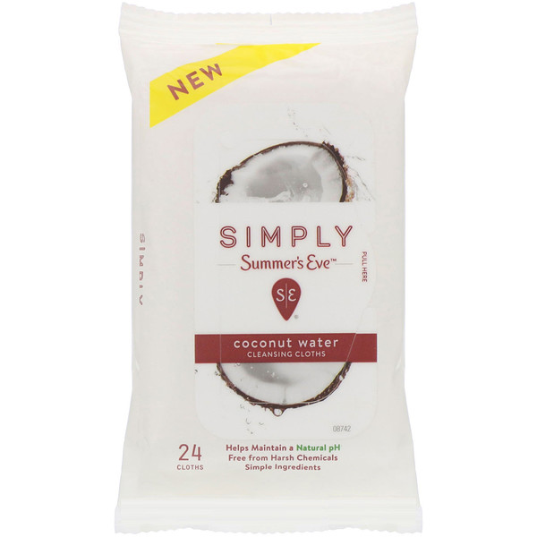 Summer's Eve, Lingettes nettoyantes Simply, Coconut Water, 24lingettes