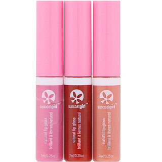 SuncoatGirl, All Natural Lip Gloss, 3 Piece Set, 0.23 oz (7 ml) Each