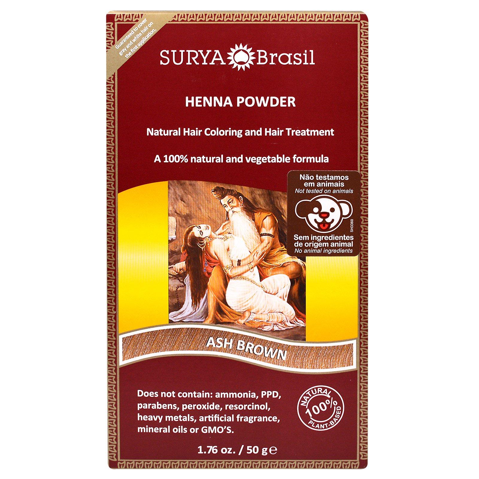 Surya Henna, Henna Brazil, Natural Hair Coloring and Hair Treatment Powder, Ash Brown, 1.76 oz (50 g)