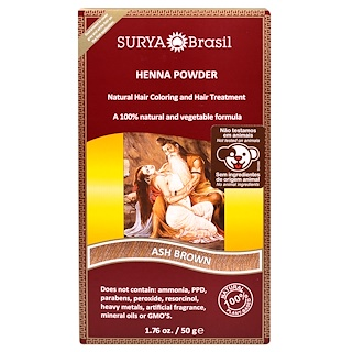 Surya Brasil, Henna Powder, Natural Hair Coloring and Hair Treatment, Ash Brown, 1.76 oz (50 g)