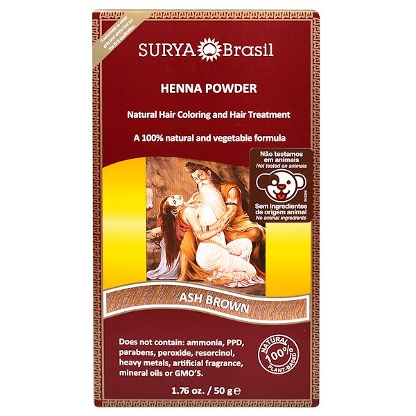 Surya Brasil, Henna Brazil, Natural Hair Coloring and Hair Treatment Powder, Ash Brown, 1.76 oz (50 g)