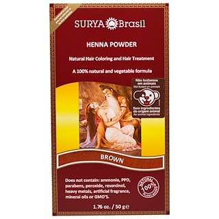 Surya Brasil, Henna Powder, Natural Hair Coloring and Hair Treatment, Brown, 1.76 oz (50 g)