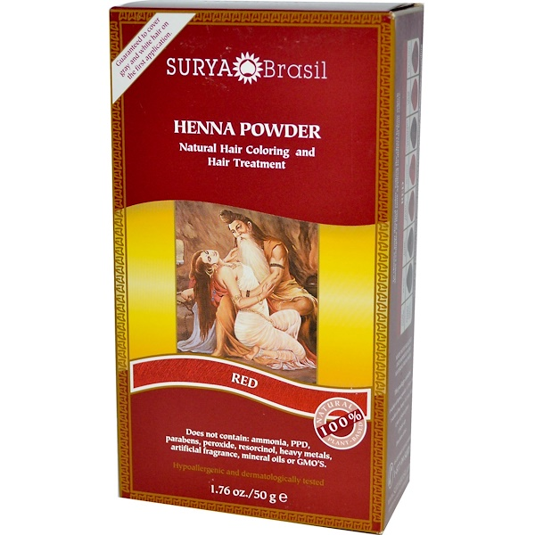 Surya Brasil, Henna Powder, Natural Hair Coloring and Hair Treatment, Red, 1.76 oz (50 g) (Discontinued Item)