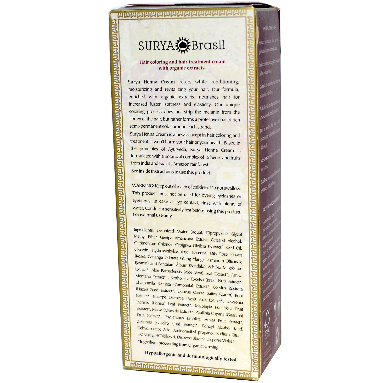 160cd03f0ffaf Surya Brasil, Henna Cream, Hair Coloring & Hair Treatment, Black, 2.31 fl oz  (70 ml) (Discontinued Item). By Surya Brasil