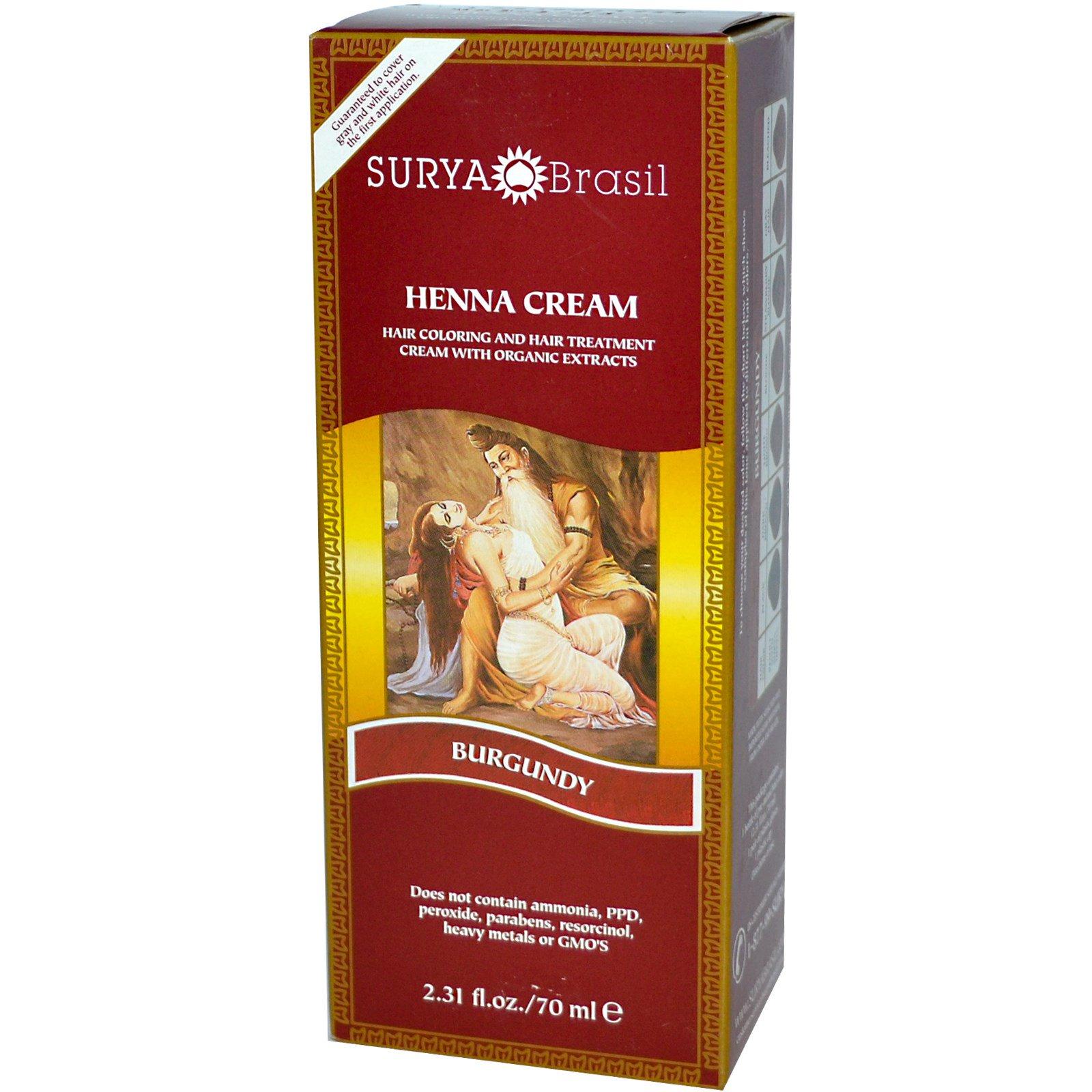 Surya Henna Henna Cream Hair Coloring Hair Treatment Burgundy